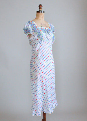 Vintage 1930s Floral Cotton Nightgown
