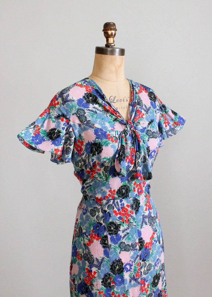 Vintage 1930s Blue, Red, and Pink Floral Crepe Dress