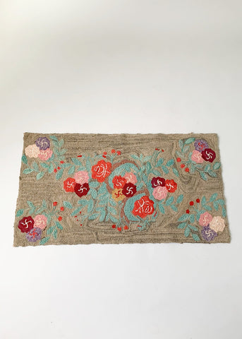 Early 20th Century Floral Hooked Rug
