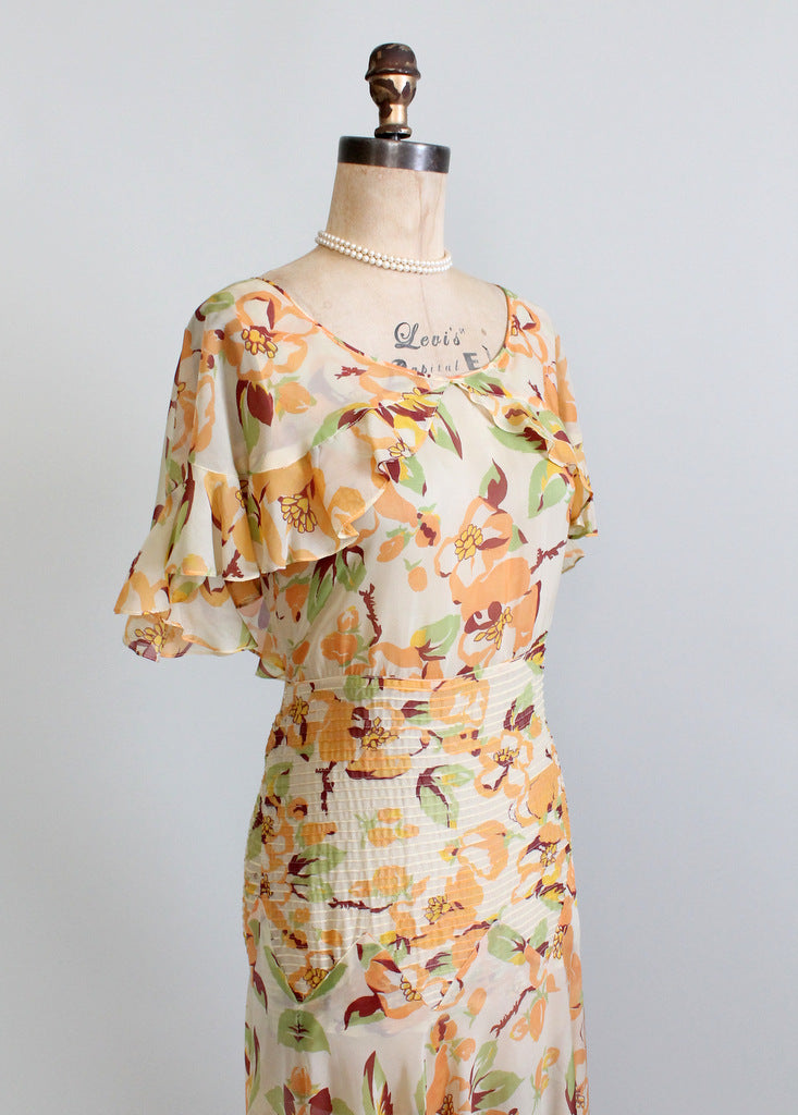 Vintage 1930s Floral Chiffon Summer Party Dress Raleigh