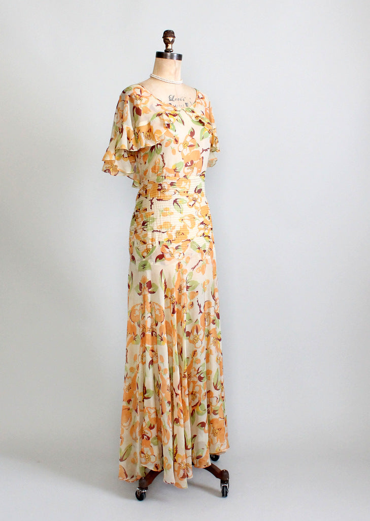 Vintage 1930s chiffon party dress