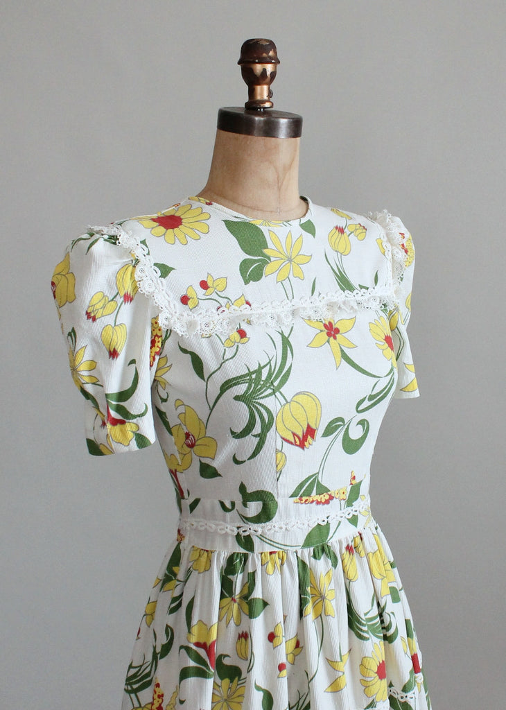 Vintage 1930s Floral Pique Cotton Day Dress