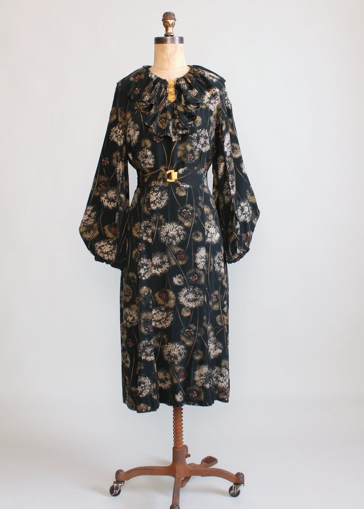 Vintage 1930s Dandelion Print Rayon Day Dress