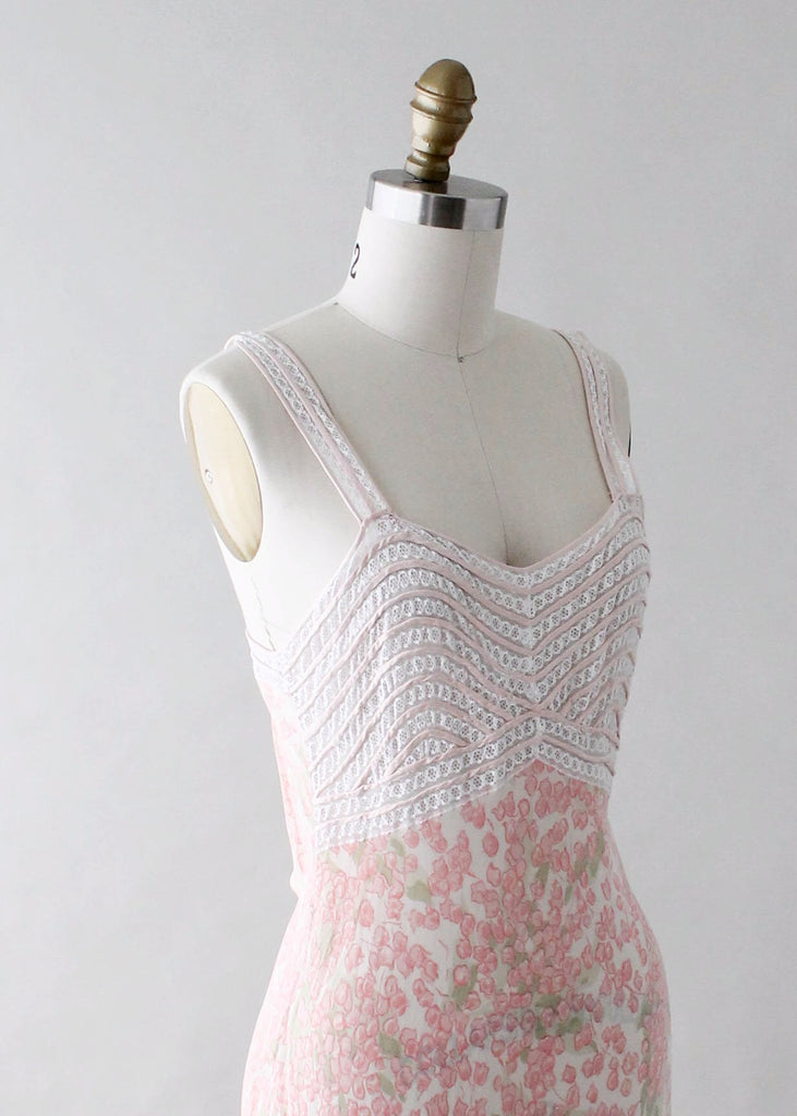 Vintage 1930s Floral Silk and Lace Slip Dress
