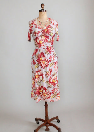 Vintage Early 1940s Floral Rayon Jersey Dress