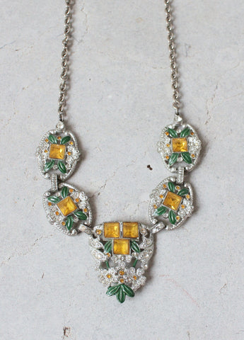 Vintage 1930s Gold and Green Rhinestone Glamour Necklace
