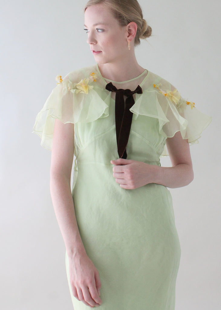 Vintage 1930s Mint Green Organdy Dress