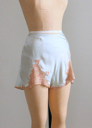 Vintage 1930s Ice Blue Silk and Lace Tap Pants