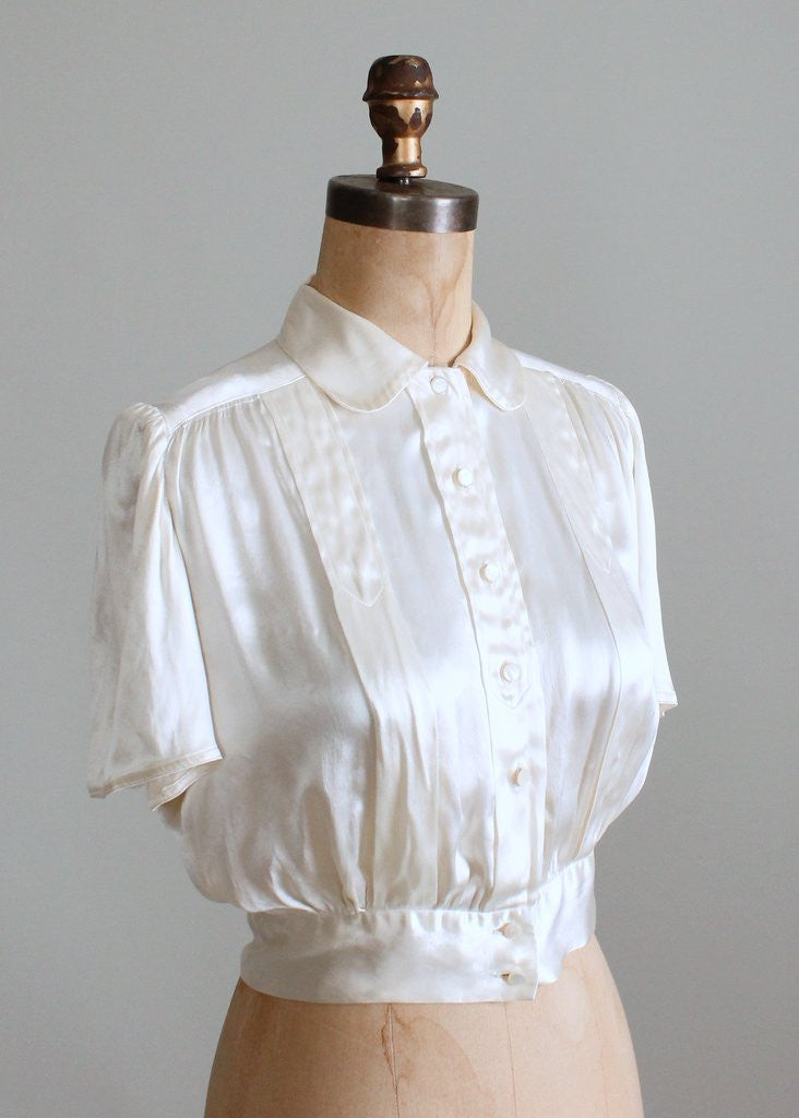 f6ad83a738b707 Vintage 1930s Ivory Silk Satin Blouse | Raleigh Vintage