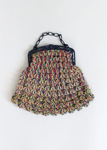 Vintage 1930s Multi Colored Popcorn Purse with Navy Celluloid Handle