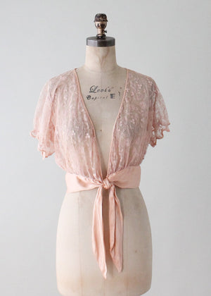 Vintage 1930s Peach Lace Tie Front Top