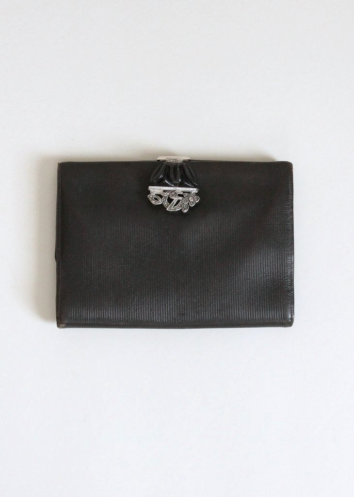Vintage 1930s Leather Clutch with Bakelite Clasp