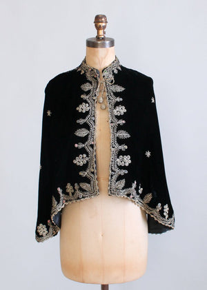 Vintage 1930s Embroidered Black Velvet Cape