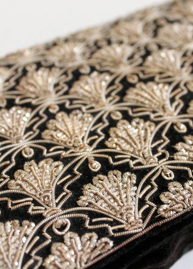 Vintage 1930s Metallic Gold Embroidered Velvet Clutch Purse