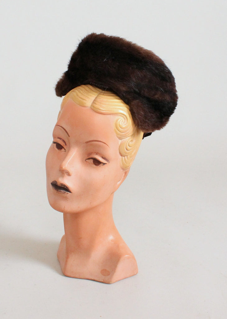 Vintage 1930s Mink Crown Winter Hat