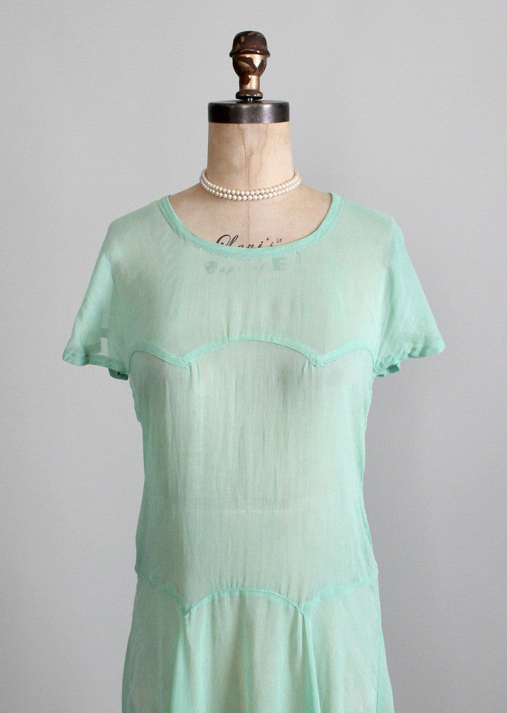 Vintage 1920s Mint Green Cotton Day Dress