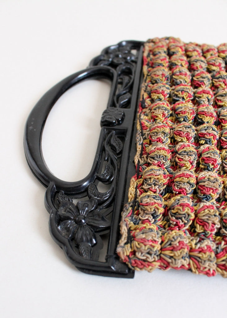 Vintage 1930s Multi Colored Popcorn Knit Purse with Black Celluloid Handles
