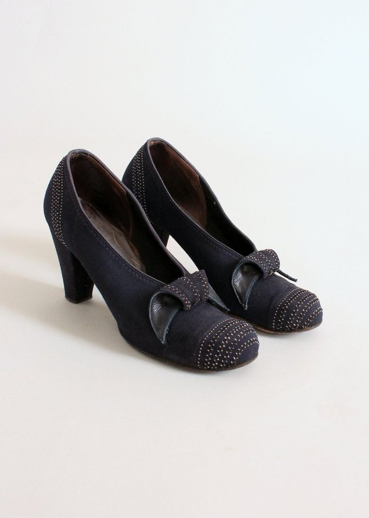 Vintage 1930s Navy Art Deco Curl Shoes