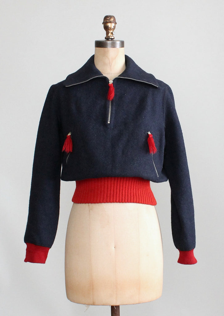 Vintage 1930s Navy and Red Wool Ski Sweater