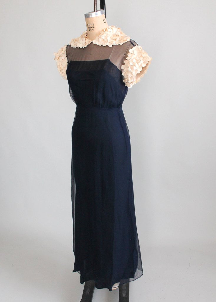 Vintage 1930s Navy Chiffon Petal Sleeves Evening Dress