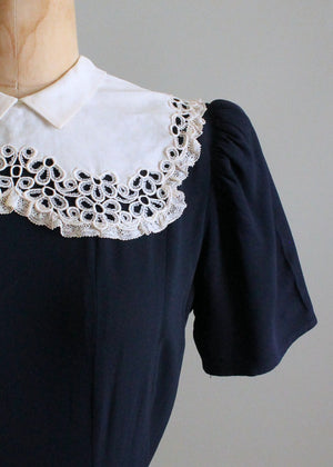 Vintage Late 1930s Navy Crepe Dress with Lace Collar