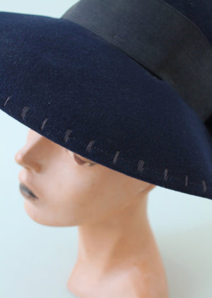 Vintage Late 1930s Navy Felt Wide Brim Hat
