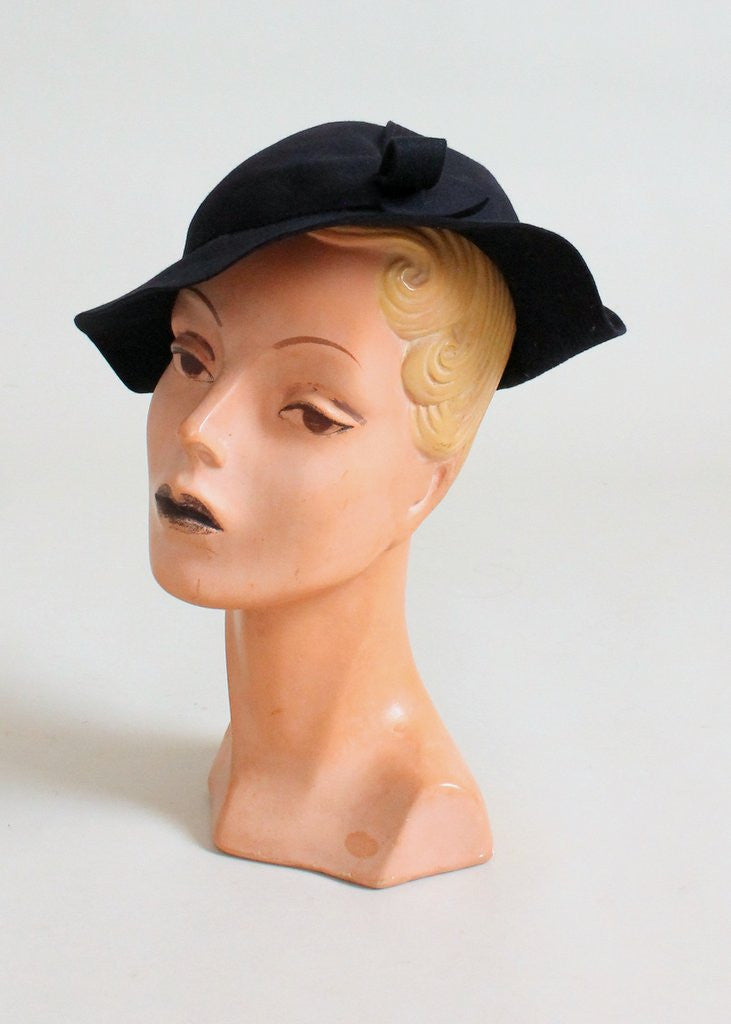 Vintage 1930s Navy Felt Slouch Hat