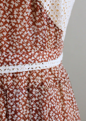 Vintage 1930s Heart Print Cotton and Lace Day Dress