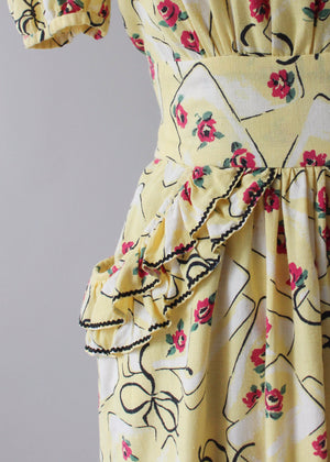Vintage 1930s Yellow Novelty Print Cotton Dress