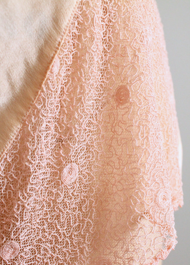 Vintage 1930s Peach Silk and Soutache Lace Panties