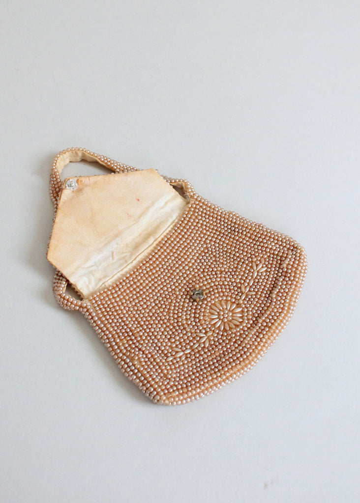Vintage 1930s Pearl Beaded Party Purse
