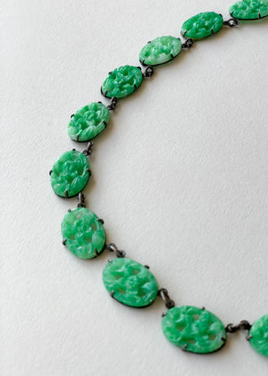 Vintage 1930s Carved Peking Glass Choker Necklace