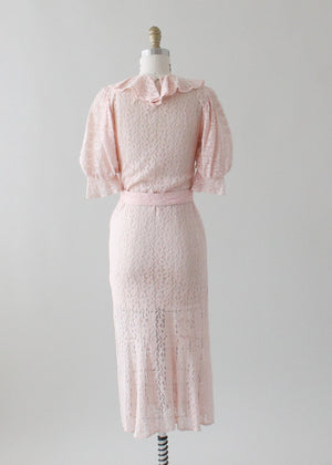 Vintage 1930s Pink Lace Art Deco Dress