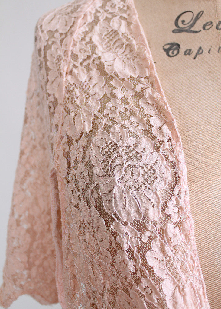 Vintage 1930s Lace Flutter Sleeve Shrug Jacket
