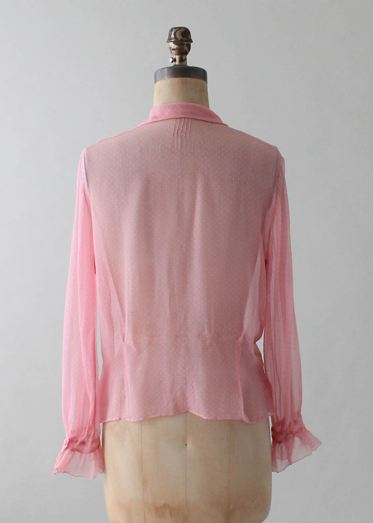 1260117c997e92 Vintage 1930s Pink Silk Ruffle Front Blouse | Raleigh Vintage