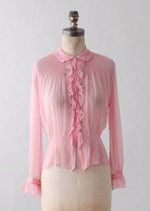 Vintage 1930s Pink Silk Ruffle Front Blouse