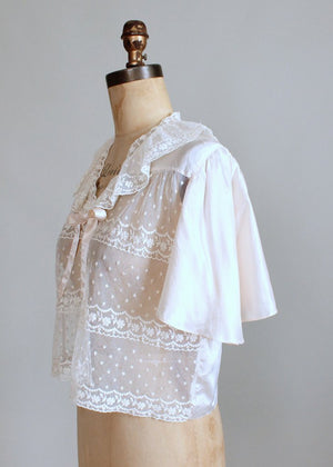 Vintage 1930s Silk and Lace Bed Jacket