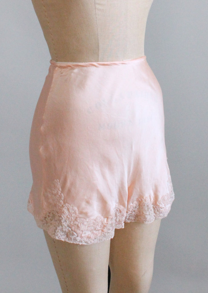 Vintage 1930s Pink Silk And Lace Tap Pants Raleigh Vintage