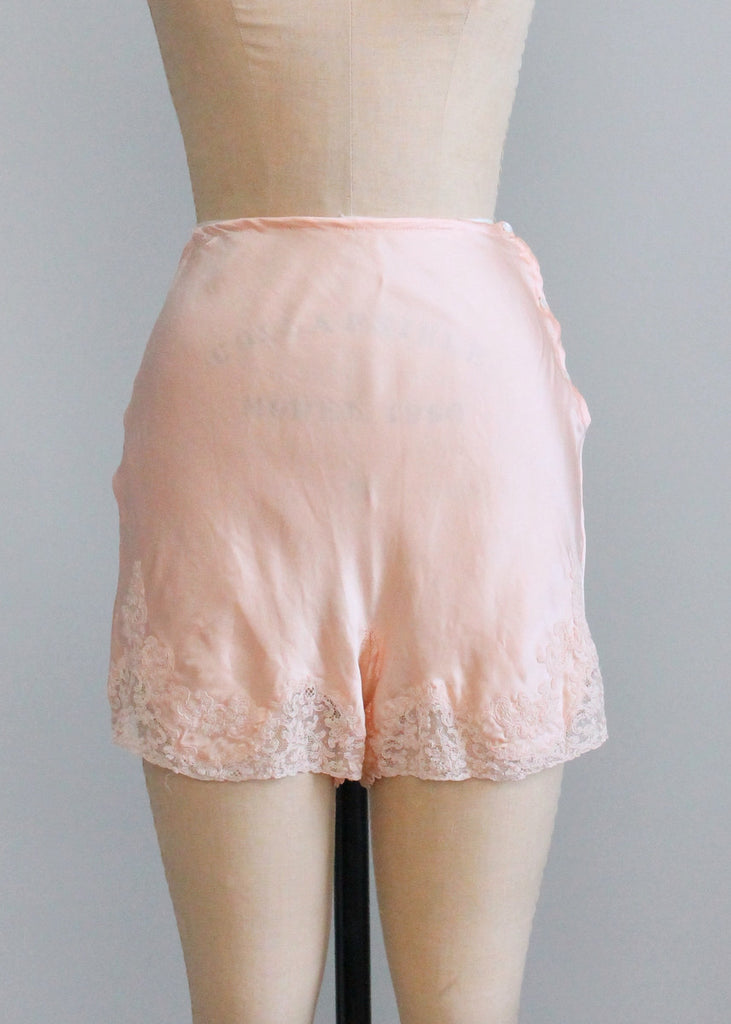 Vintage 1930s Pink Silk and Lace Tap Pants