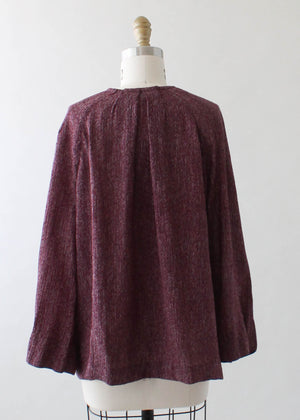 Vintage 1930s Plum Rayon Day Dress with Jacket
