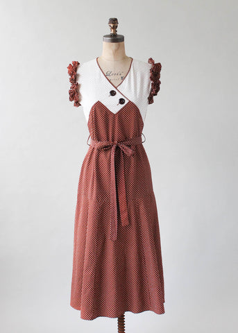 Vintage 1930s Polka Dot Cotton Day Dress