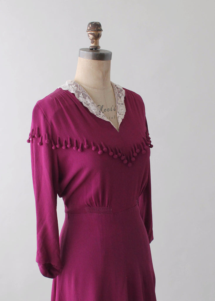 Vintage 1930s Purple Crepe Dress with Ball Fringe