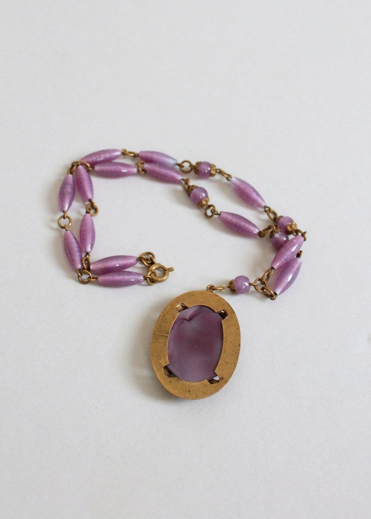Vintage 1930s Purple Glass and Brass Flower Necklace