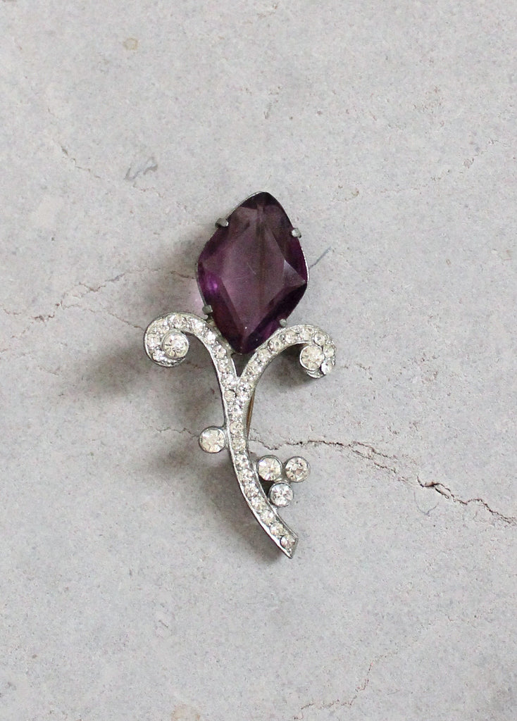 Vintage 1930s Purple Glass and Rhinestone Flower Brooch