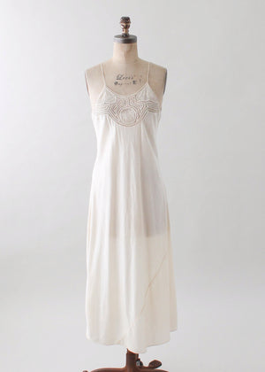 Vintage 1930s Ivory Silk and Lace Slip Dress