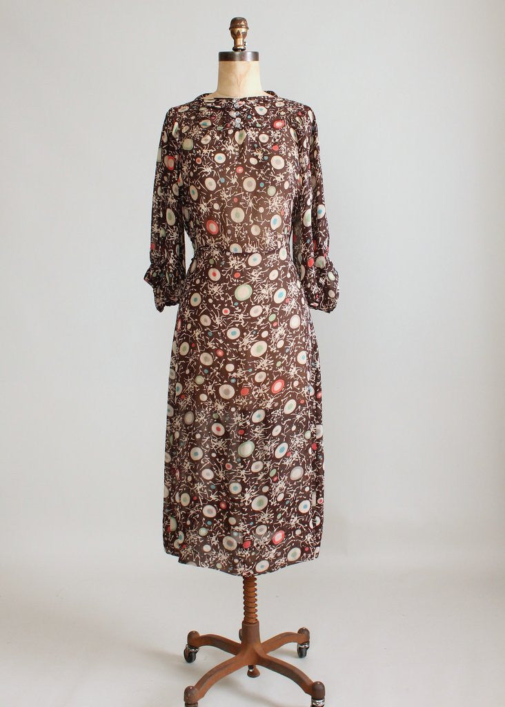 Vintage 1930s Brown Color Dots Day Dress