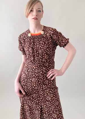 Vintage 1930s Rayon Leaf Print Dress
