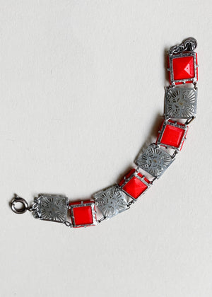 Vintage 1930s Red Glass and Silver Bracelet