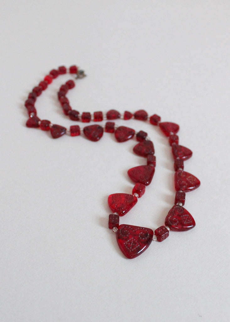 Vintage 1930s Be Still My Heart Red Glass Necklace