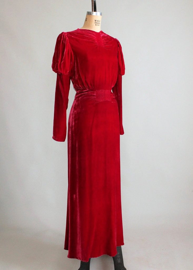 Vintage 1930s Red Velvet Holiday Glam Dress Raleigh Vintage